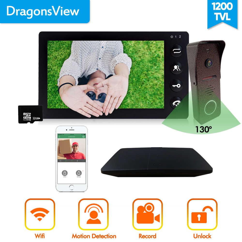 Dragonsview 7 Inch Wifi Video Intercom Wireless Video Door Phone Remote Intercom Record Unlock Motion Detection Night Vision