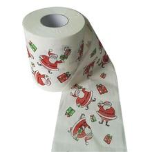 Рулон рождественской рулонной бумаги с рисунком, интересный туалетный стол, кухонная бумага, Прямая поставка, рождественский продукт H5
