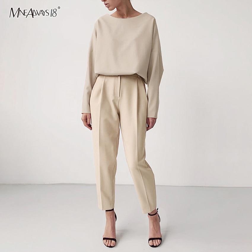 Mnealways18 Khaki Casual High Waist Pants Brown Office Wear Solid Women Pants Elastic Waist Trousers Ladies Zipper 2020 Fashion