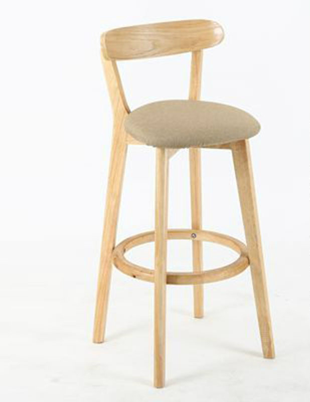 European Style Solid Wood Bar Chair Modern Simple High Stool Back   Cash Register   Front Desk  Home