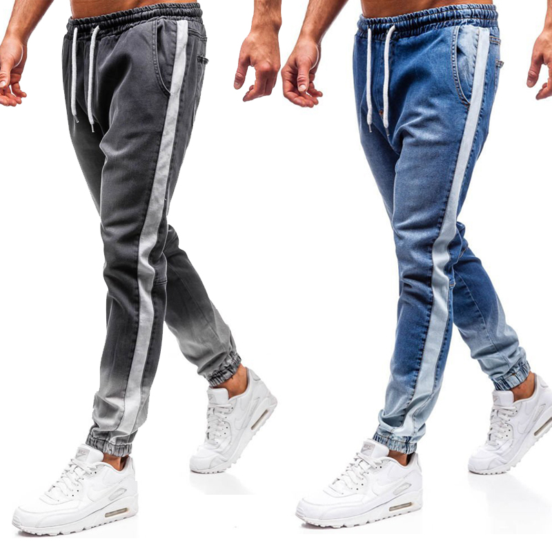 Mens Skinny Jeans Slim Fit Ripped Jeans Big And Tall Stretch Blue Jeans For Men Distressed Elastic Waist Pencil Jeans With Floun