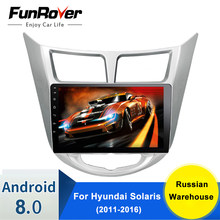 Funrover 2 Din Android 8.0 Auto Radio Multimedia Video Player Dvd Voor Hyundai Solaris Accent Verna 2011-2016 Navigatie gps Rds(China)