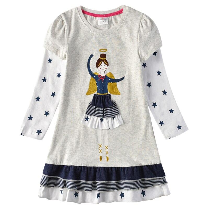 H2af531b252b540558440a3a654d452e9Z VIKITA Girls Cotton Dress Long Sleeve Children Patchwork Vestidos Kid Dresses for Girls Clothes Toddlers Cartoon Princess Dress