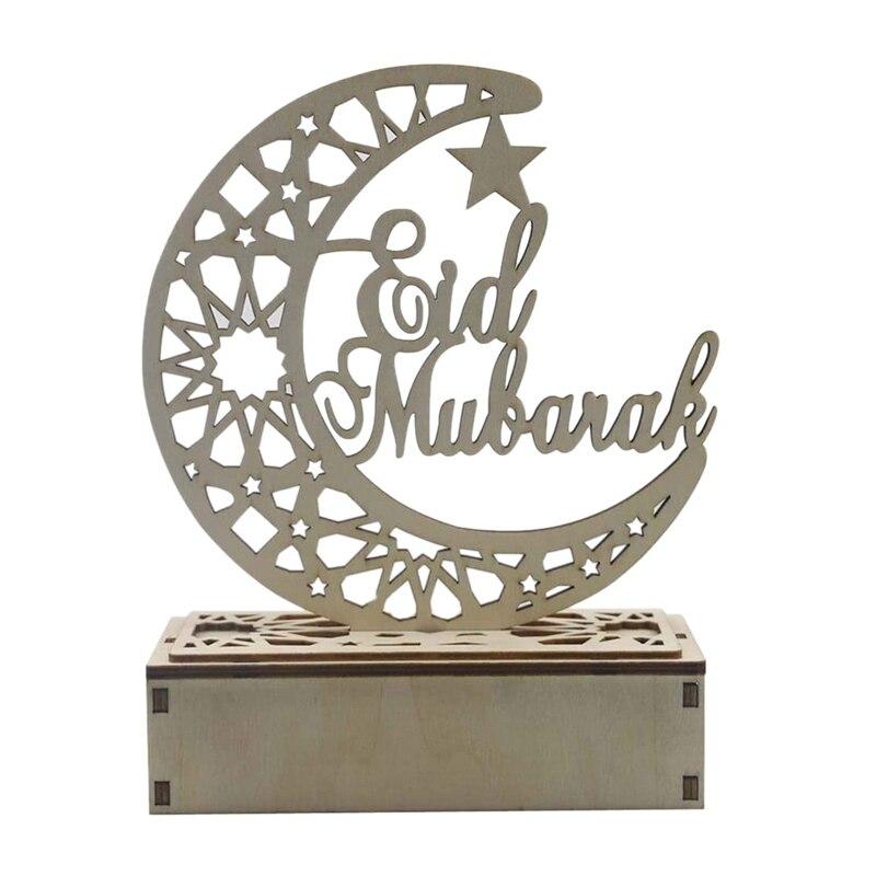 Wooden Led Light Palace Eid Mubarak Decor Ramadan Decoration Muslim Craft Supplies Ramadan Decoration Home Party Decor