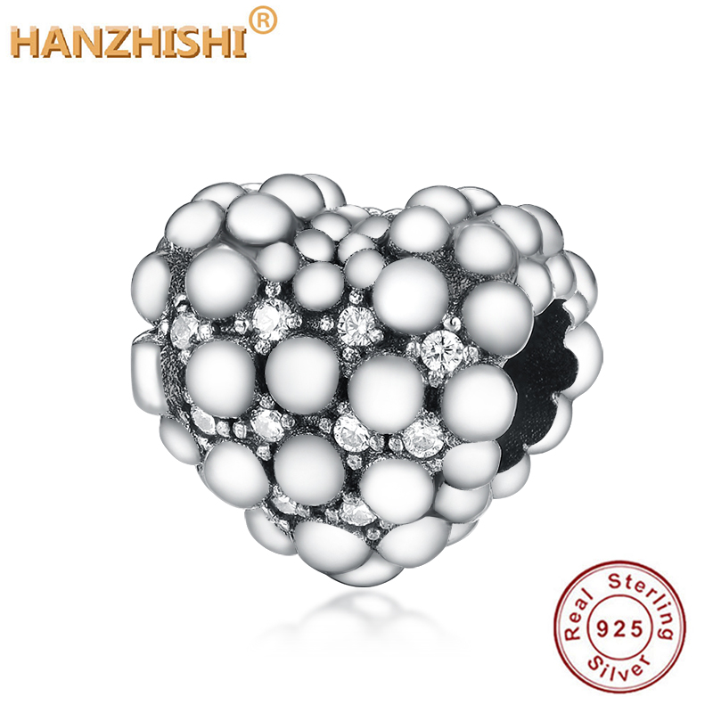 New 925 Sterling Silver Beads Sparkling Heart Charm Fit Original Pandora Charm Bracelets Women DIY Jewelry Encanto Plateado