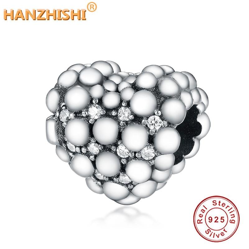 New 925 Sterling Silver Beads Sparkling Heart Charm Fit Original Pandora Charm Bracelets Women DIY Jewelry Encanto Plateado
