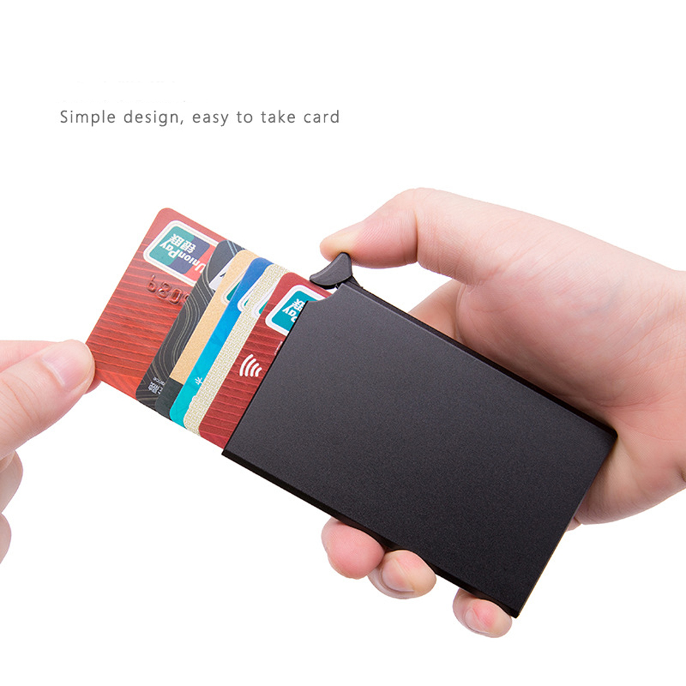 H2af5620b8813459dae84f26fd6faefffK - RFID Anti-theft Smart Wallet Thin ID Card Holder Unisex Automatically Solid Metal Bank Credit Card Holder Business Mini