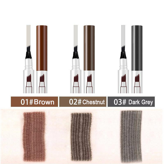 3 Colors 4 Head Eyebrow Marker Pencil Waterproof Microblading Eyebrow Thin Tattoo Pen Eyebrows Shades Makeup Eye Brow Pencil 4