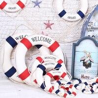 25 センチメートル海軍 Mediteranean 海ライフブイ壁ぶら下げスイミングリングライフボーイバー家の装飾の小道具航海ライフリング結婚式工芸品