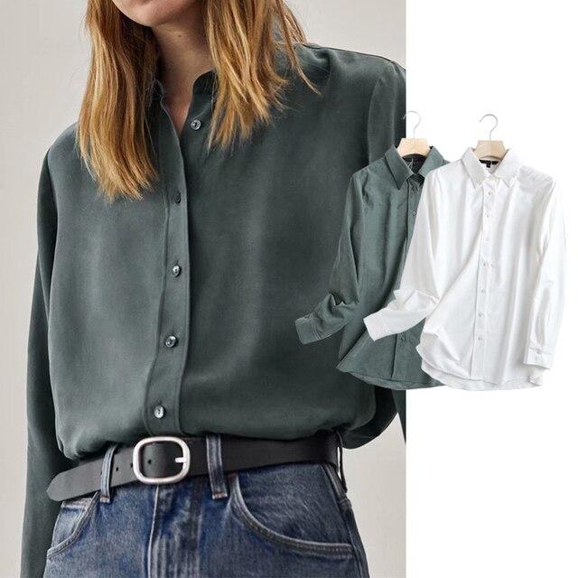 ZA 2020 New Fashion Women Solid color chiffon shirt Turn down Collar Blouses Long Sleeve Chiffon Shirt Casual Loose Tops 1
