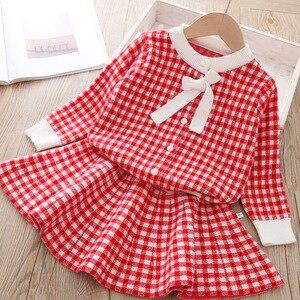 Image 2 - Keelorn Frühling Marke Mädchen Kleid 2020 Neue Ankunft Oansatz Bogen Plaid Kinder Kleidung Sets Boutique Kinder Kleidung Kleid 3 8Year