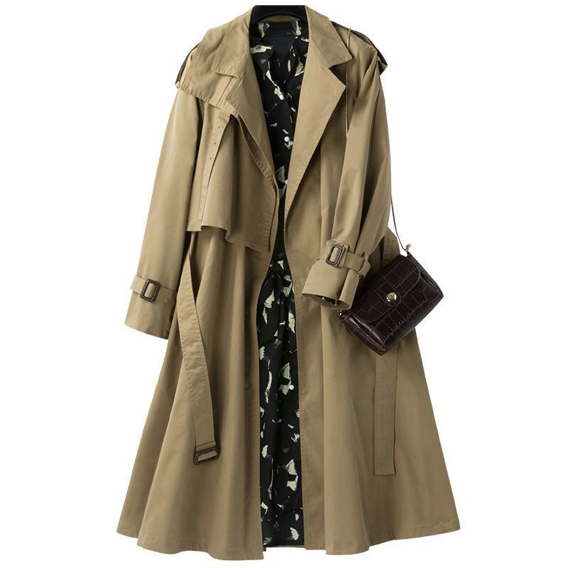 2021 spring and autumn new style fashion windbreaker women's middle long suit collar lace up waist show thin little coat women