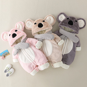 Baby clothes autumn and winter suits 0-12 months old boys and girls lovely winter clothes go out hugging thick one-piece clothes