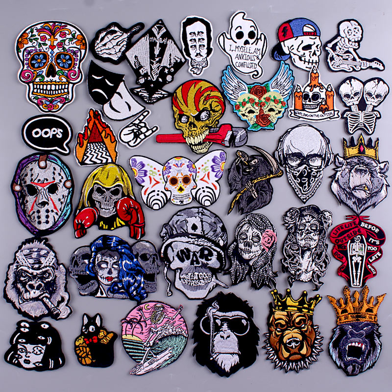 Skull Patch Zombie Bride Embroidered Patches For Clothing Iron On Patches Clothes Applique Stickers Punk Patch Sewing Supplies-1