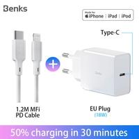 Benks mfi cabo usb c cabo pd carga rápida usb tipo c pd carregador de iluminação para iphone 11 pro max xs x xr 8 carregador de carregamento rápido