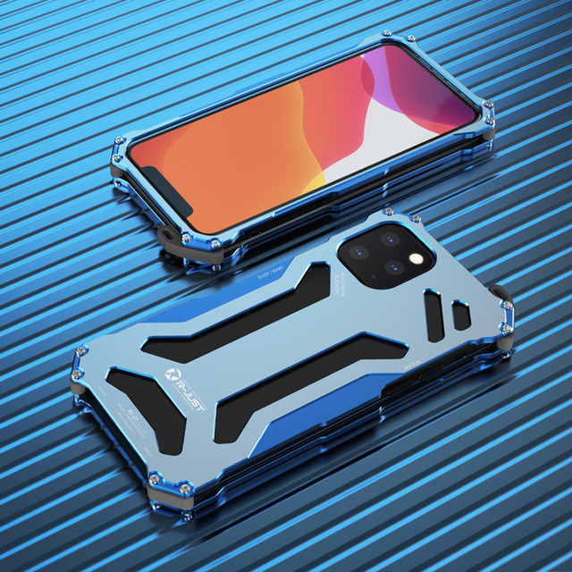 R JUST Aircraft Aluminum Bumper Case for Iphone 11 11 Pro Iphone 11Pro MAX Anti knock Shockproof Metal Frame Back Cover