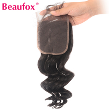 Beaufox brazylijski luźna fala zamknięcie Remy ludzki włos uzupełnienie splotu włosów lace Closure 4*4 bezpłatne część może być bielone tanie tanio Remy włosy Luźne fale 130 4 x 4 Średni brąz Brazylijski włosy Swiss koronki Ręka wiążący Pure color 1 sztuka tylko