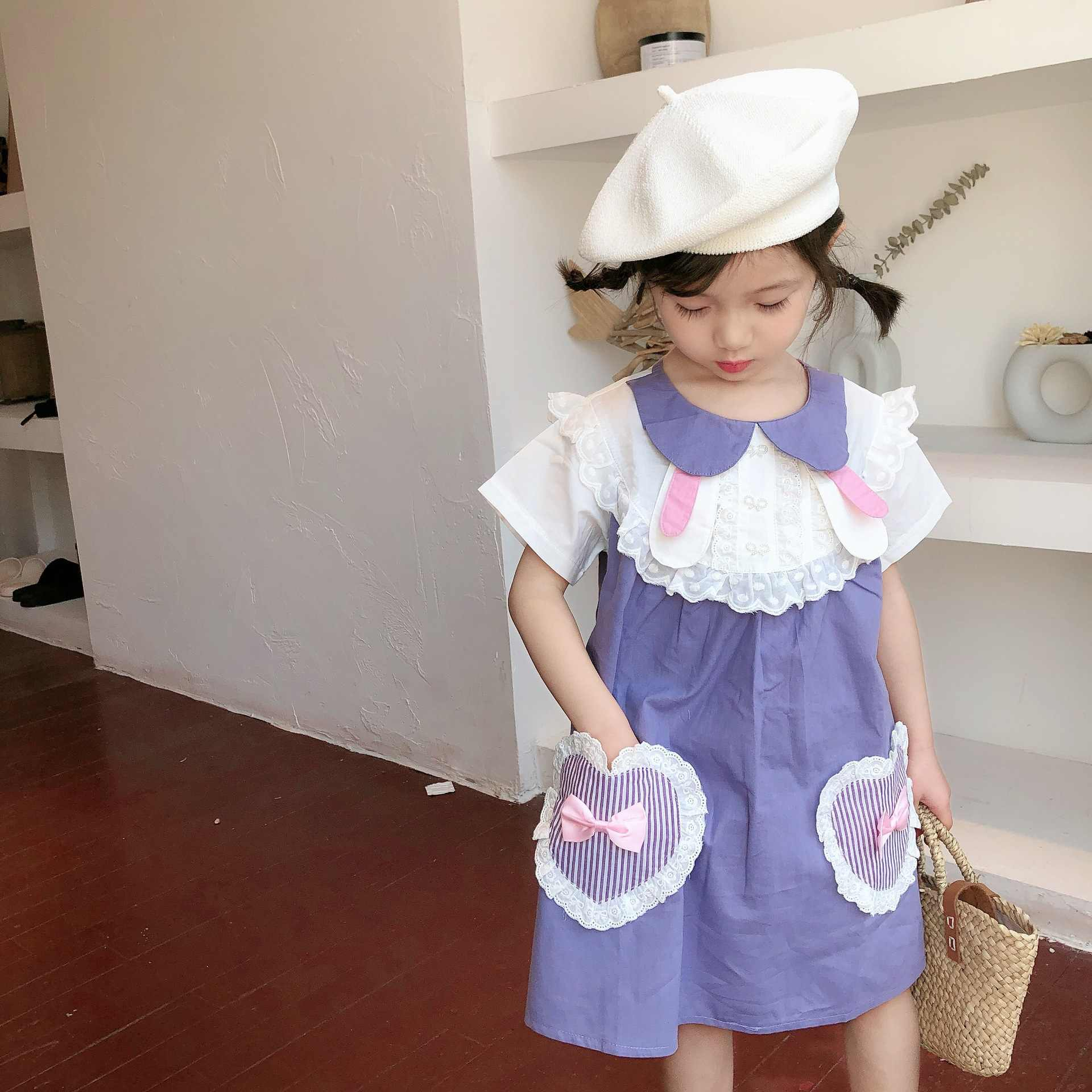 Tonytaobaby New Style Summer Cute Adorable Rabbit Maid Girls Dress Children Wear Kids Dresses for Girls
