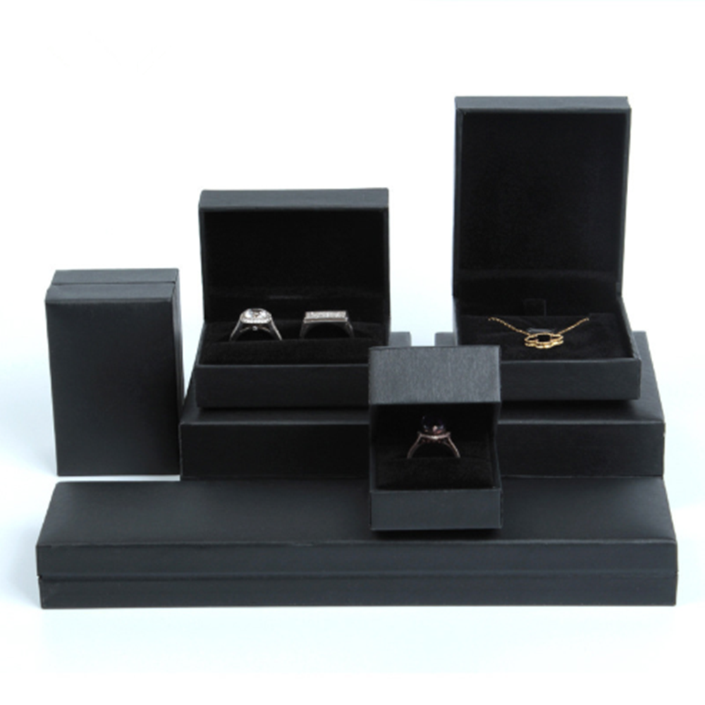New 6 Types Black Right Angle Jewelry Box Cardboard Jewelry Accessroies  Ring Necklace Bracelets Earring Gift Packaging Boxes