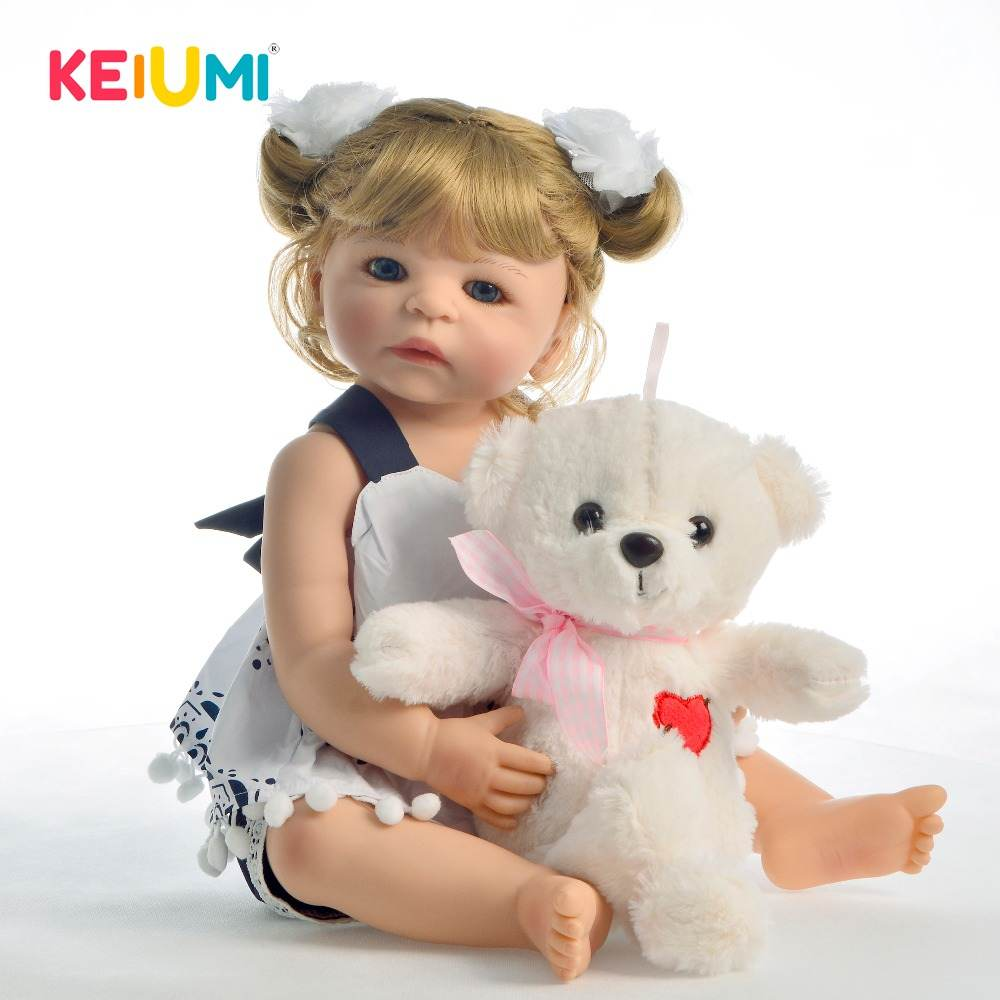 22 pouces nouveauté corps entier vinyle bébé poupée fille jouet réaliste Boneca Reborn bébés boucles blondes cheveux enfants cadeau d'anniversaire