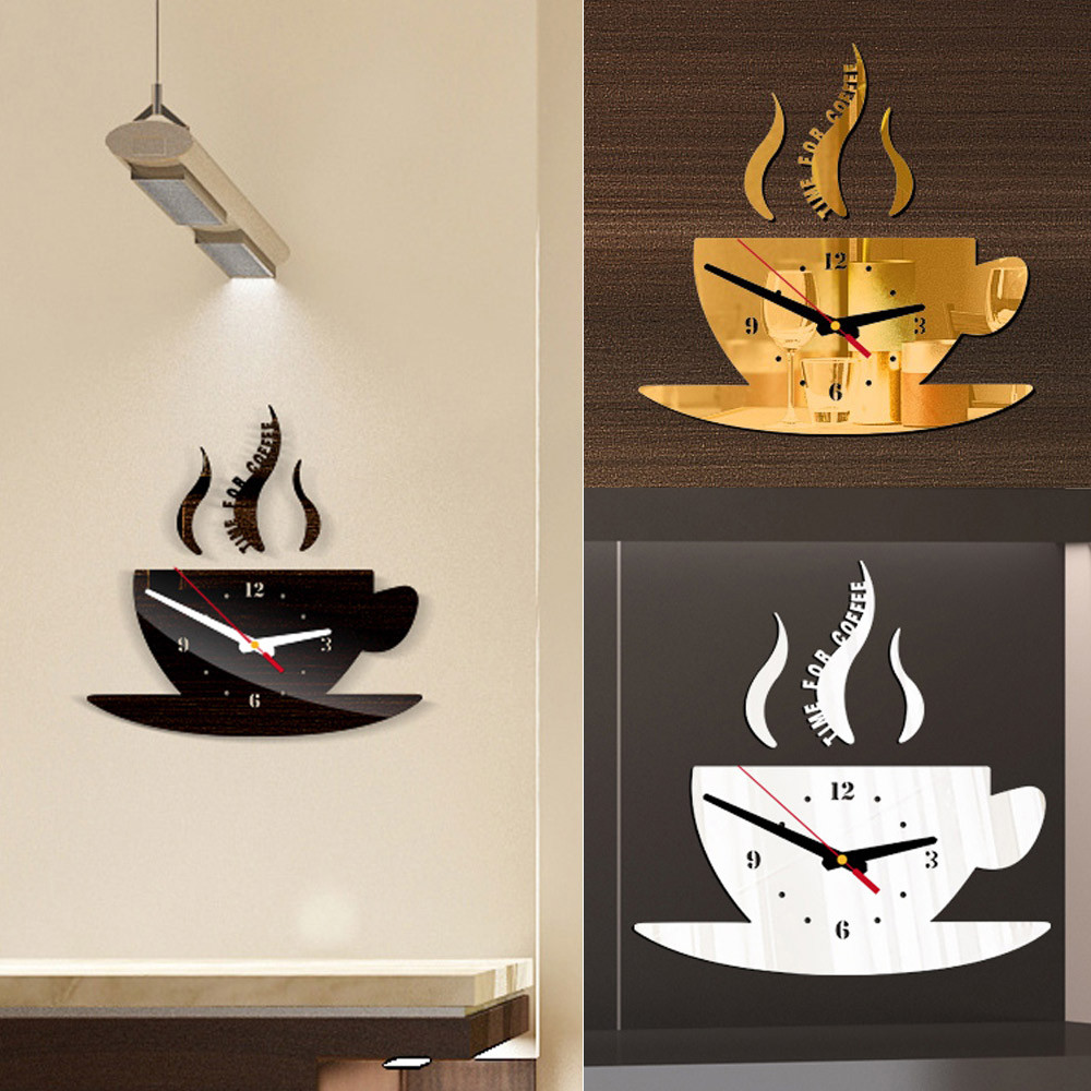 Coffee Shape Removable Diy Acrylic 3d Mirror Wall Sticker Decorative Clock Wall Clock Quartz Watch Reloj De Pared Living Room 2