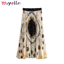 Streetwear Women Skirts 2019 Chains Print Pleated Midi Skirt Women Elastic Waist Vintage Stylish Casual Long Skirts for Women stylish print knot skirt for women