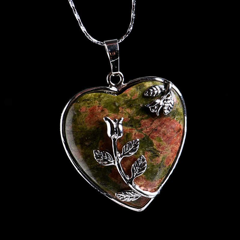 1PC คริสตัลธรรมชาติ Rose Quartz Heart จี้แร่เครื่องประดับตกแต่งคู่คริสต์มาสของขวัญ DIY อุปกรณ์เสริมผู้ชายและผู้หญิง
