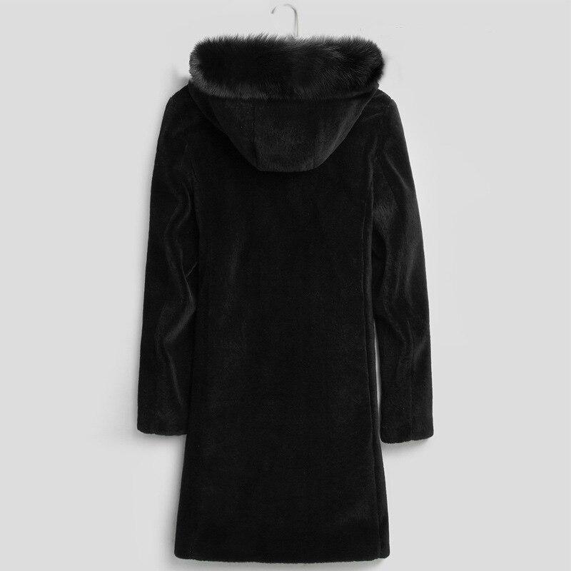Winter Real Fur Coat Men Warm Thicken Wool Jacket Sheap Shearing Coats Male Long Parka With Natural Fox Fur Collar LX2548