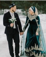 YiMinpwp Muslim Hunter Green Wedding Dresses With Wrap Stand Collar Sweep Train A Line Appliques Crystal Arabic Bridal Gowns