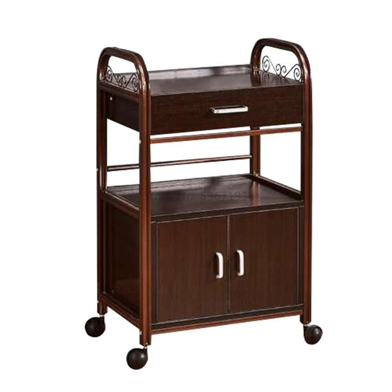 Beauty Car Trolley Three-tier With Drawer Mobile Beauty Salon Trolley Barber Shop Tool Car Hairdressing Rack