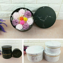 3 Pcs Florist Flowers Gifts Box Marble Pattern Round Packing Case for Wedding Party TT-best