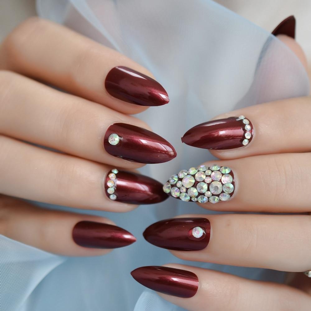 Роскошные поддельные ногти дизайнерские удлиненные Омбре французские украшения предварительно разработанные ногти натуральные шпильки AB Украшение камнями Типсы - Цвет: L5276