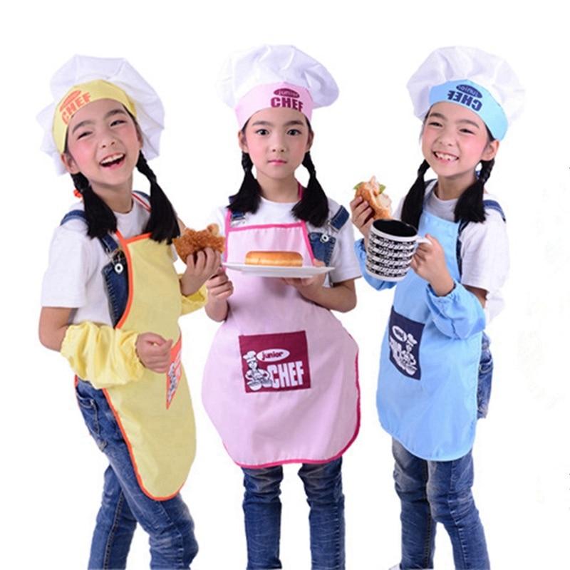 Cute Children Apron Fashion Chef Hat Pocket Set Kids Craft Art Kitchen Cooking Drink Food Baking DIY Painting SYT9244