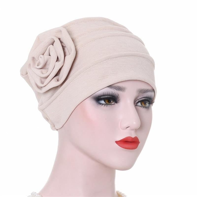 Helisopus Women Fashion Big Flower Headdress Bonnet Turban Muslim Hat Breathable Cap Lady Hair Loss Hair Accessories