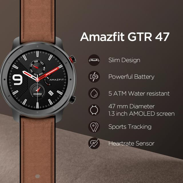 [Ship from Russia] Amazfit GTR 47mm Smart Watch 24 Days Battery Music Control 5ATM Waterproof Smartwatch Leather Silicon Strap 1