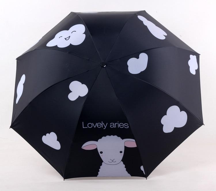 Currently Available Lamb Vinyl Valgus Steel Rib Three-fold Umbrella Sun-resistant Parasol Umbrella Folding Umbrella Thermal Prof