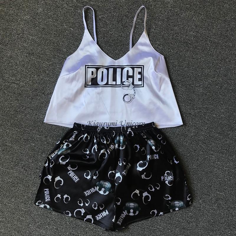 Женские пижамные комплекты с принтом полиции, женские пижамы на бретелях без рукавов, комплект сексуальной пижамы, женская летняя Ночная одежда, домашний костюм