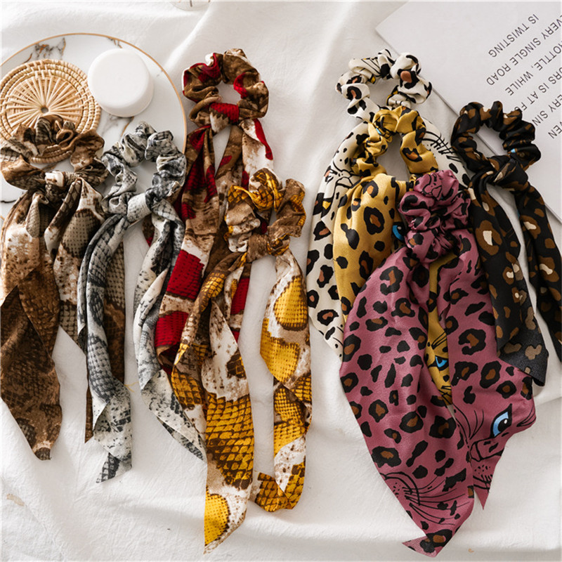 Ruoshui Leopard Hair Ties Boho Elastic Hairband Fashion Scrunchies Girls Rubber Band Hair Ribbon Gum Headwear Ponytail Holders