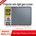 MIXITO 4:3 проектор анти-светильник Шторы Экран 60 72 84 100 110 дюйма 3d HD Портативный проекции Экран с отверстиями для использования вне помещения