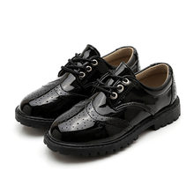 Kids British Black Small Leather Shoe Magic Buckle Student Shoes Children Fashion Leisure School Etiquette Sports Leather Shoes(China)