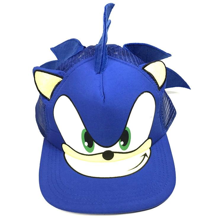 Cute Boy Sonic The Hedgehog Cartoon Youth Adjustable Baseball Hat Cap Blue For Boys Hot Selling
