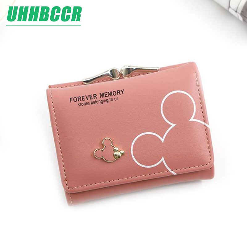 Women Small Wallet Cartoon Mickey Cute Coin Purse Hasp Card Holder Womens Wallets And Purses Female Wallets Famous Brand