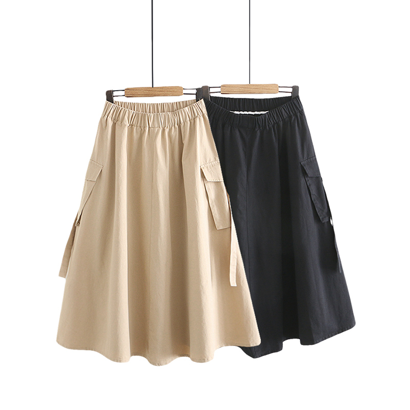 2020 Women Summer Cotton Long Skirt High Waist Women Khaki Long Skirt Ladies Elastic A-Line Skirt Pocket Faldas Jupe Femme Saia