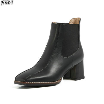 QZYERAI Ankle boots Autumn and winter Genuine leather fashion Female boots Women's boots Women's shoes Size 34-40