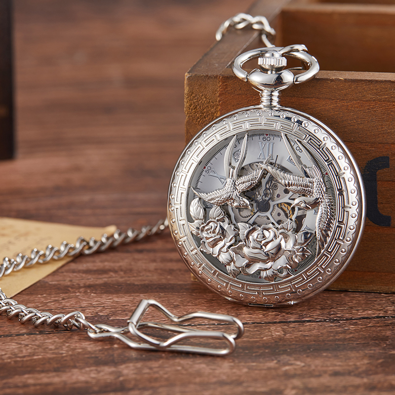 2019 New Phoenix Skeleton Mechanical Pocket Watch Men Woman Antique Luxury Brand Necklace Pocket & Fob Watches Chain Male Clock
