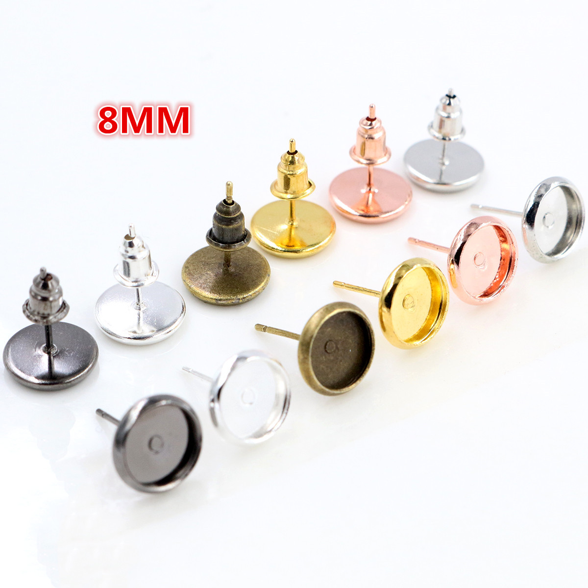 100pcs/lot 8mm High Quality Copper Metal 6 Color Ear Studs Earring Base Findings Cabochon Setting Accessories (Free Back)
