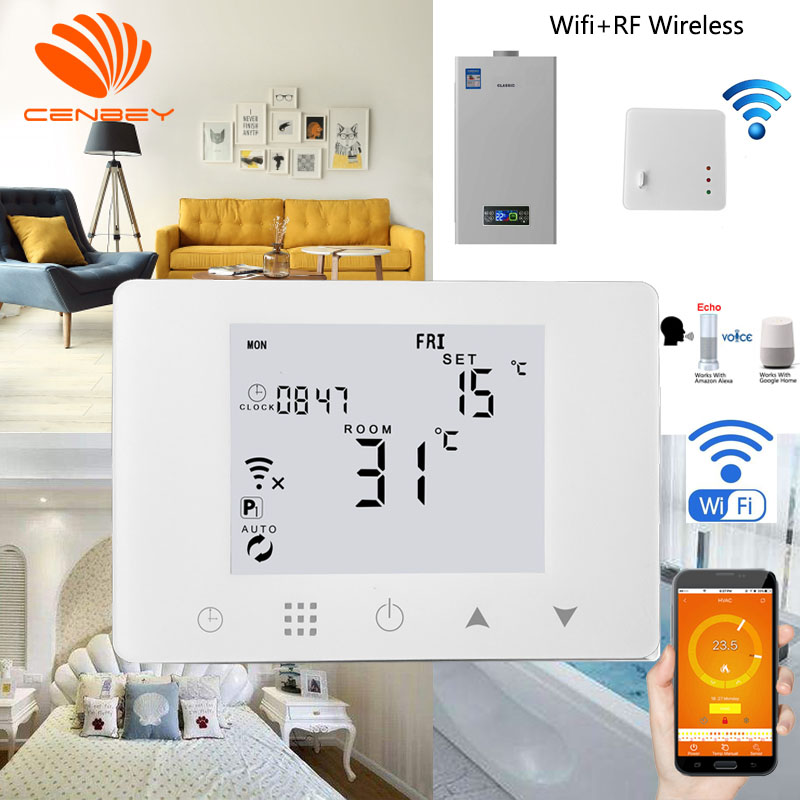 Thermostat Wifi Fr Wireless Underfloor Heating Thermostats Central Heating Battery Programmable Room Thermostat Boiler Alexa 16A