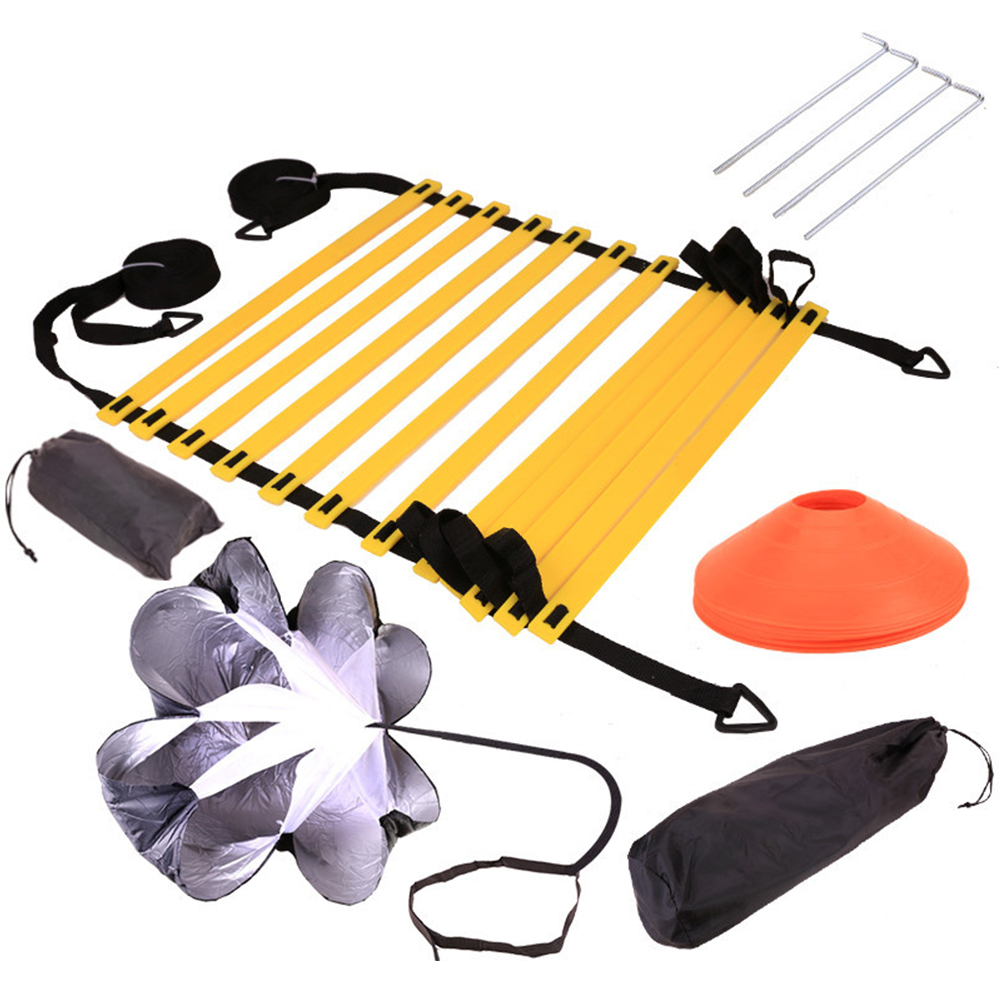 Resistance Parachute 6m 12-Rung Football For Soccer With 5 Cones Speed Practice Fitness Agility Ladder Training Set Outdoor