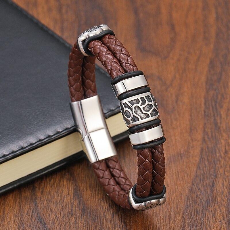 TeHao Genuine Woven Leather Men's Bracelet Punk316l Stainless Steel Irregular Cracked Bead Bracelet And Bangle Men's Jewelry