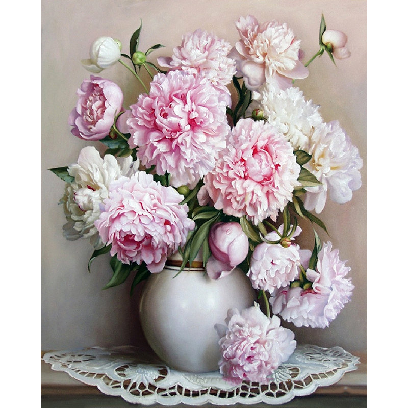 Frameless Europe Pink White Flower DIY Painting By Numbers Unique Gift Acrylic Paint Hand Painted Wall Art Picture
